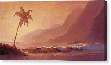 Canvas Print featuring the painting Dreams Of Hawaii - Tropical Beach Sunset Paradise Landscape Painting by Karen Whitworth