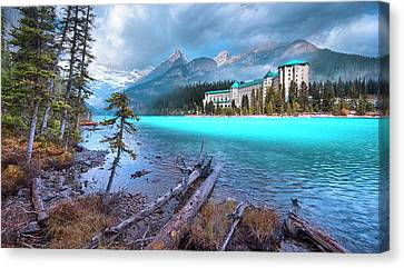 Canvas Print featuring the photograph Dreamy Chateau Lake Louise by John Poon