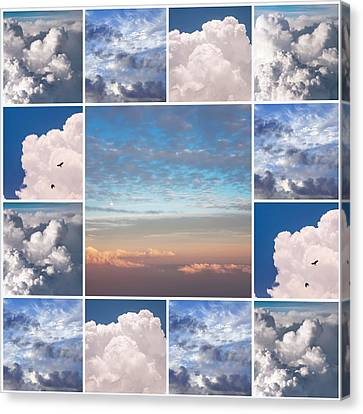Canvas Print featuring the photograph Dreamy Clouds Collage by Jenny Rainbow