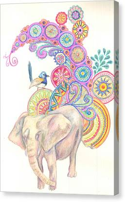 Canvas Print - Dreamy Elephant And Bird by Cherie Sexsmith