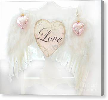 Dreamy Ethereal White Angel Wings Romantic Love Heart - Valentine Love Heart Pink White Angel Wings  Canvas Print by Kathy Fornal