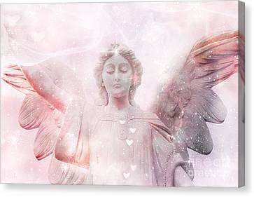 Dreamy Heavenly Angel Art - Ethereal Angel Hearts And Stars - Celestial Pink Angel Art  Canvas Print