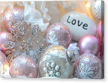 Dreamy Holiday Sparkling Ornaments Love Decor - Shabby Chic Pink White Sparkling Ornaments  Canvas Print by Kathy Fornal