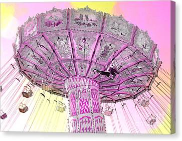 Dreamy Lavender Pink Yellow Carnival Ferris Wheel Swing Ride Canvas Print by Kathy Fornal