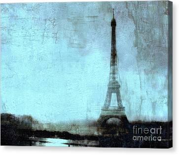 Dreamy Paris Eiffel Tower Aqua Teal Sky Blue Abstract  Canvas Print by Kathy Fornal