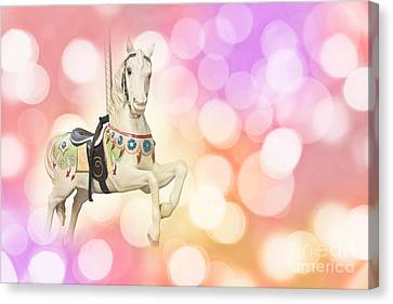 Dreamy Pastel Pink Carousel Horse. Canvas Print by Delphimages Photo Creations