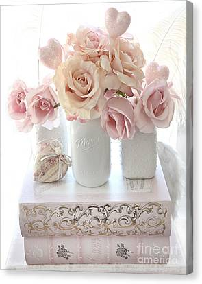 Dreamy Pastel Shabby Chic Peach And Pink White Roses - Cottage Shabby Chic Roses White Mason Jars  Canvas Print