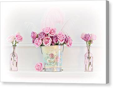 Dreamy Romantic Pink Roses -  Shabby Chic Pink Roses Still Life Canvas Print by Kathy Fornal