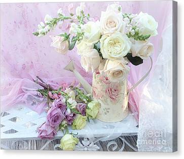 Dreamy Romantic Shabby Chic Spring Roses - Spring Romantic Bouquet Of Roses - Shabby Chic Floral Art Canvas Print