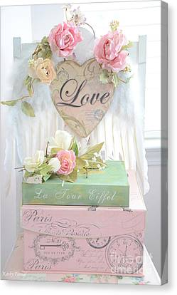 Dreamy Shabby Chic Pink Roses Heart - Paris Books Love Heart Valentine Print Canvas Print by Kathy Fornal