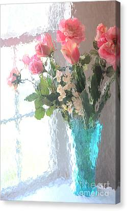 Dreamy Shabby Chic Impressionistic Coral Peach Pink Bouquet - Peach Coral Flowers In Aqua Vase Canvas Print