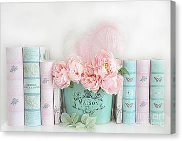 Dreamy Shabby Chic Paris Peonies Books Print - Pink Teal Peonies And Books Shabby Cottage Chic Decor Canvas Print