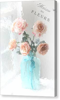 Dreamy Shabby Chic Paris Roses  - Paris French Floral Roses Teal Vase - Paris Roses French Script Canvas Print