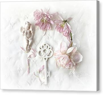 Dreamy Shabby Chic Pastel Floral Peony French Key Art  - Pink White Peony White Skeleton Key Decor  Canvas Print by Kathy Fornal