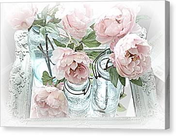 Dreamy Shabby Chic Peonies And Vintage Mason Ball Jars Romantic Cottage Floral Art Canvas Print by Kathy Fornal