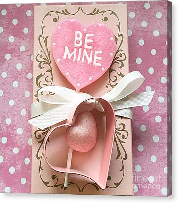 Shabby Chic Pink Valentine Heart - Be Mine - Valentine Romantic Pink White Hearts Decor Canvas Print by Kathy Fornal