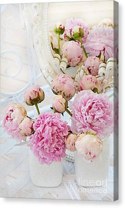 Dreamy Shabby Chic Romantic Peonies - Garden Peonies White Mason Jars Canvas Print by Kathy Fornal