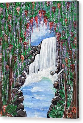 Canvas Print featuring the painting Dreamy Waterfall by Saranya Haridasan