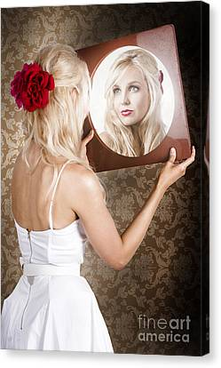 Dreamy Woman Looking At Mirror Reflection Canvas Print by Jorgo Photography - Wall Art Gallery