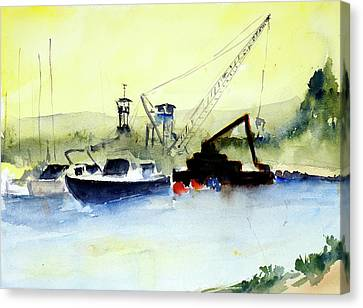 Dredging At Marin Yacht Club Canvas Print