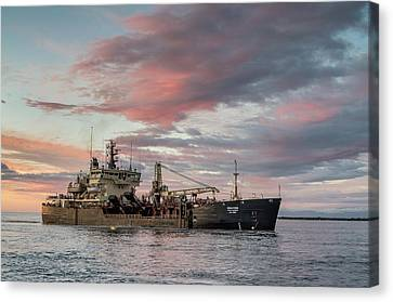 Canvas Print featuring the photograph Dredging Ship by Greg Nyquist