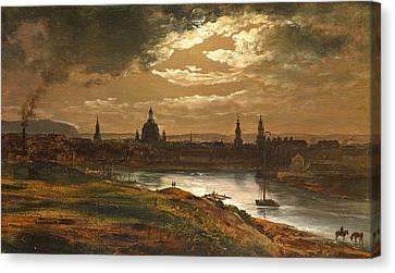 Dresden By Moonlight Canvas Print by Johan Christian Dahl