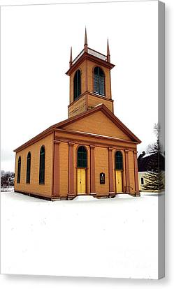 Maine Winter Canvas Print - Dresden St John Episcopal Church In Snow by Olivier Le Queinec