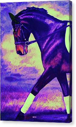 Dressage Horse Caper Purple And Blue Canvas Print by Bets Klieger