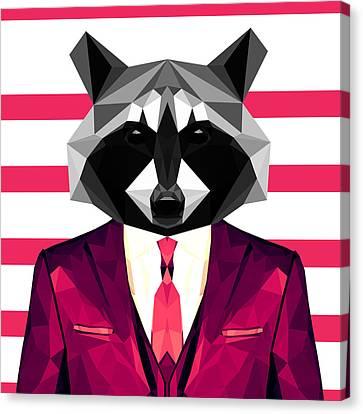 Dressed Raccoon Canvas Print by Gallini Design