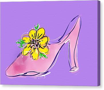 Dressing Room Canvas Print - Dressy Shoe For Happy Dresses by Laurel Foster