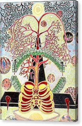 Canvas Print featuring the painting Drevo Man by Yury Bashkin