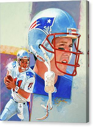Canvas Print featuring the painting Drew Bledsoe by Cliff Spohn