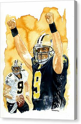 Drew Brees - Champion Canvas Print by George  Brooks