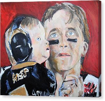 Drew Brees And Son  Canvas Print by Jon Baldwin  Art