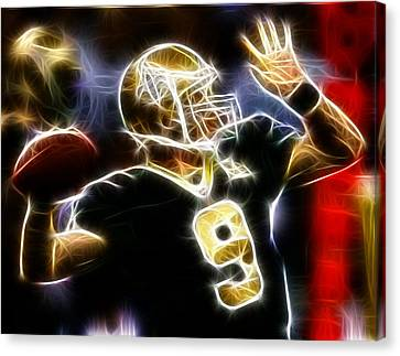 Football Canvas Print - Drew Brees New Orleans Saints by Paul Van Scott