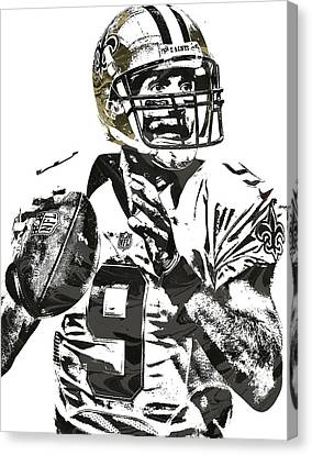 Drew Brees New Orleans Saints Pixel Art 1 Canvas Print by Joe Hamilton