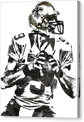 Drew Brees New Orleans Saints Pixel Art 2 Canvas Print by Joe Hamilton