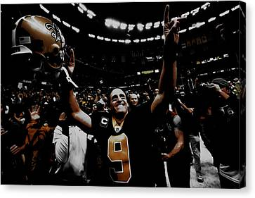 Drew Brees Super Bowl Victory Canvas Print by Brian Reaves