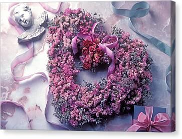 Dried Flower Heart Wreath Canvas Print by Garry Gay