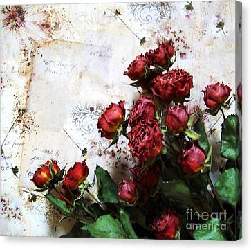 Dried Flowers Against Wallpaper Canvas Print by Marsha Heiken