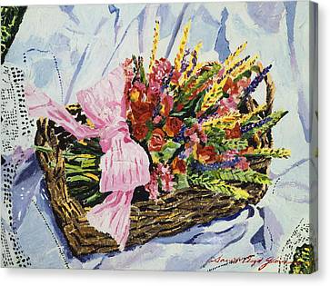 Dried Rose Basket On Lace Canvas Print by David Lloyd Glover