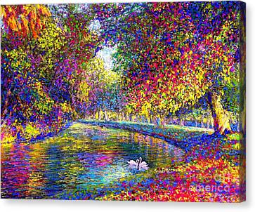 Rural Landscapes Canvas Print - Drifting Beauties, Swans, Colorful Modern Impressionism by Jane Small