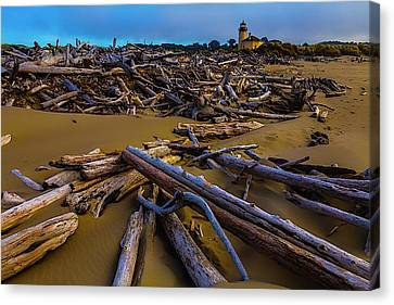 Driftwood And Coquille River Lighthouse, Canvas Print by Garry Gay