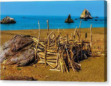 Sonoma Coast Canvas Print - Driftwood Hut Sonoma Beach by Garry Gay