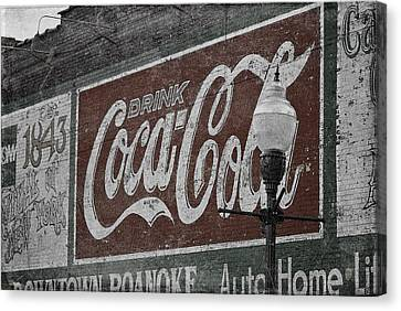 Lamp Post Canvas Print - Drink Coca Cola Roanoke Virginia by Teresa Mucha