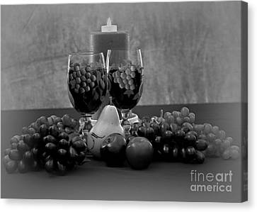 Drink For Two In Black And White Canvas Print by Sherry Hallemeier