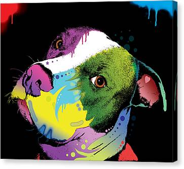 Dripful Pitbull Canvas Print by Dean Russo