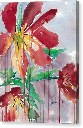 Drippy Tulips Canvas Print by Mary Lomma