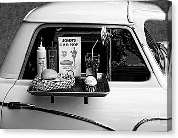 Drive-in Black And White Canvas Print by Doc Braham
