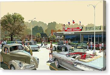 Canvas Print featuring the painting Drive In Days by Michael Swanson